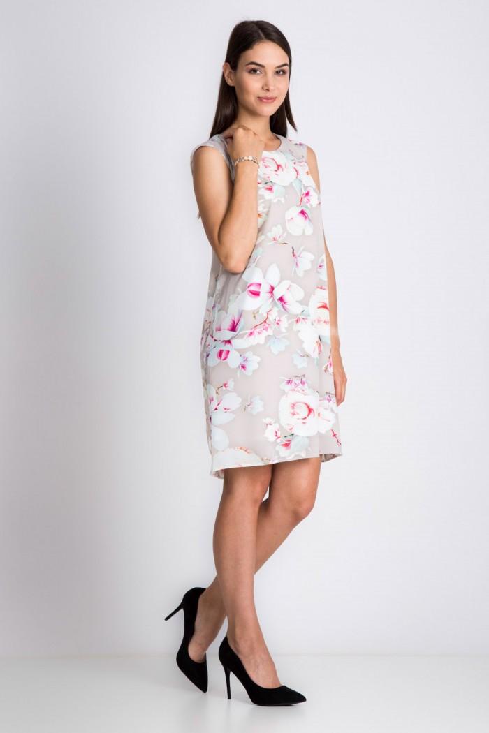 Beżowa sukienka w duże kwiaty