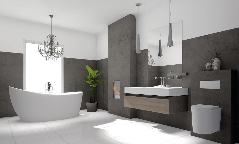 Elegancka łazienka z białą wanną