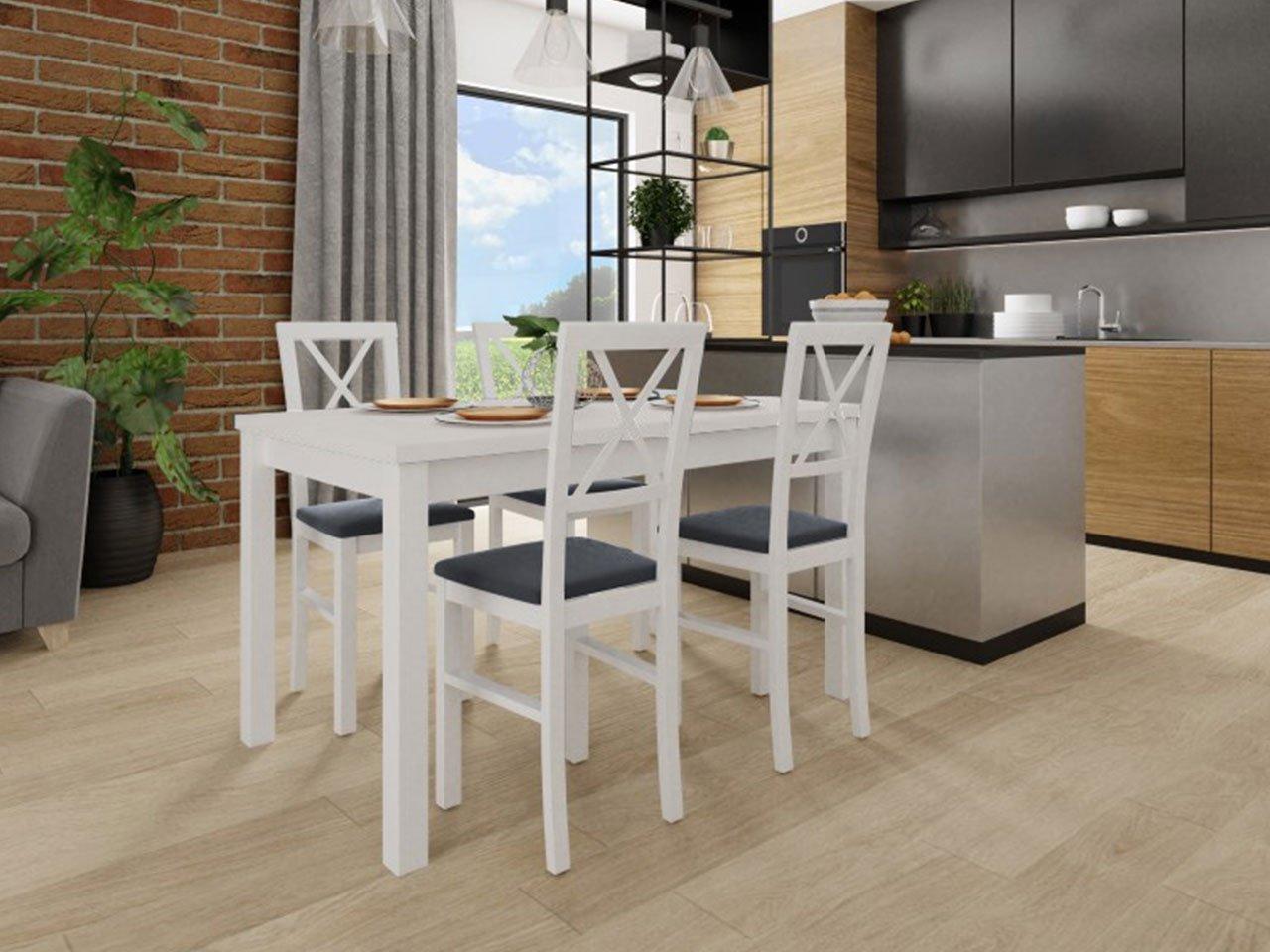 Biały stół i proste białe krzesła