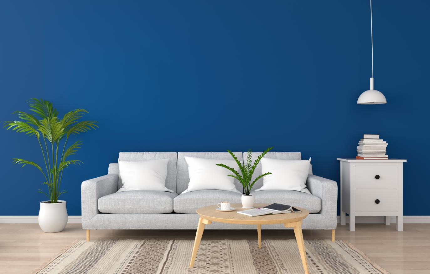 salon ściana w kolorze Classic Blue
