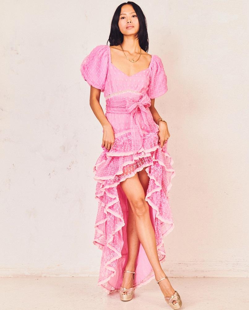 damska różowa sukienka z jedwabiu cayden