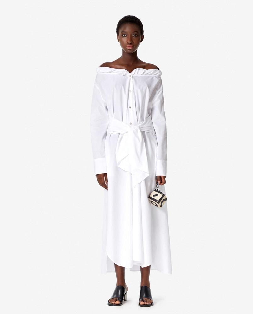 Biała sukienka z hiszpańskim dekoltem Kenzo