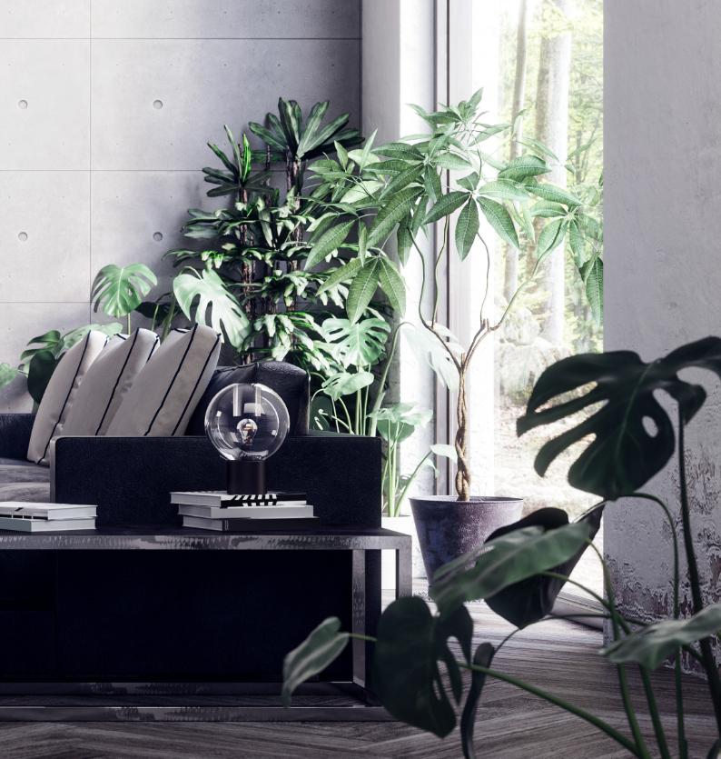 nowoczesny salon z zasłonami w oknie
