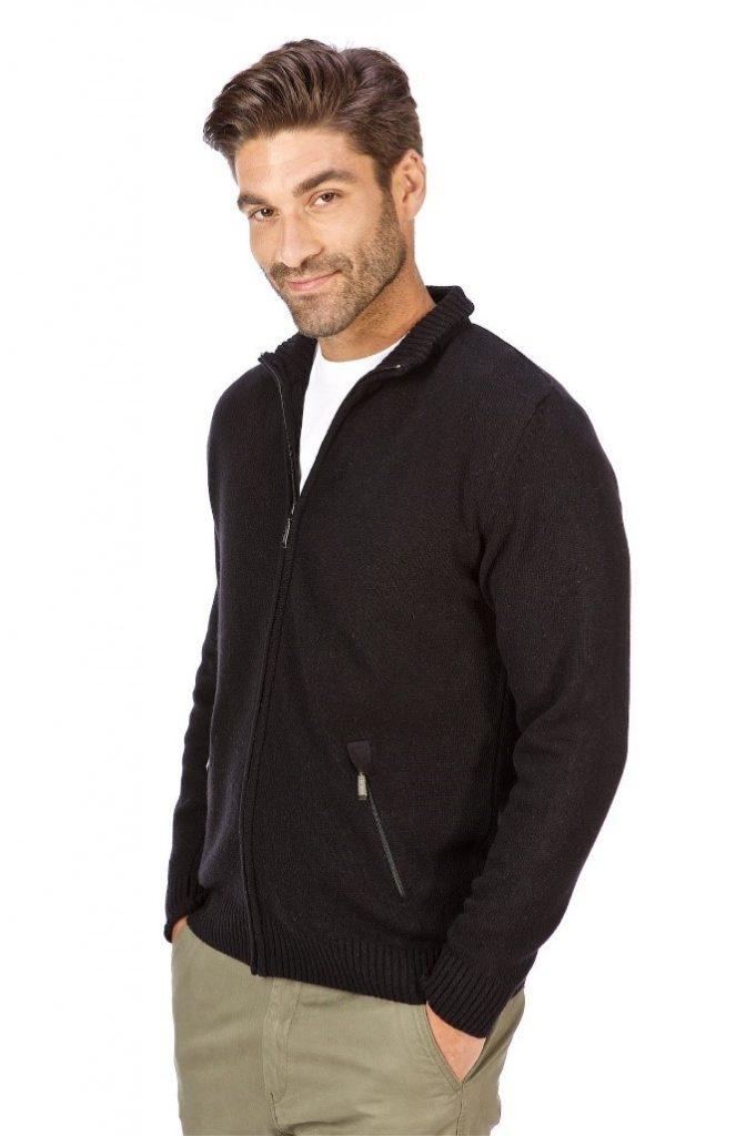 modny sweter męski czarny