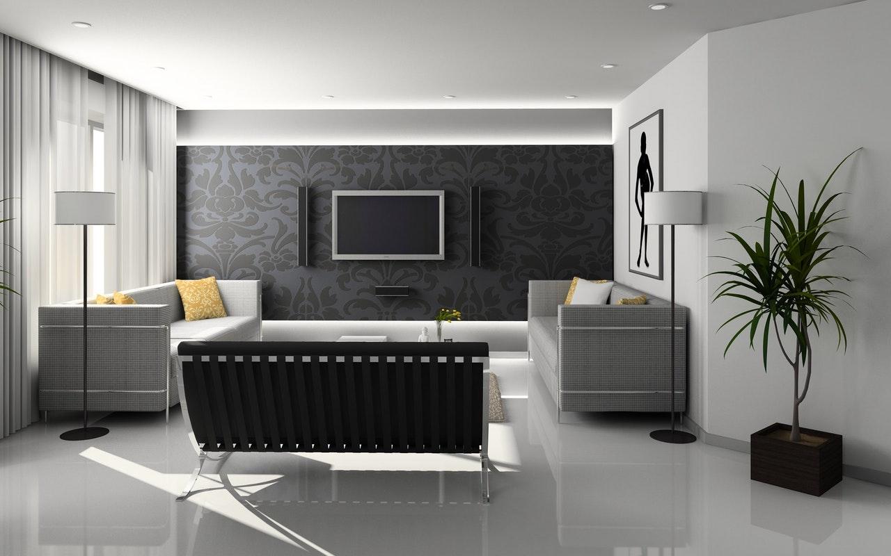 minimalistyczny szary salon