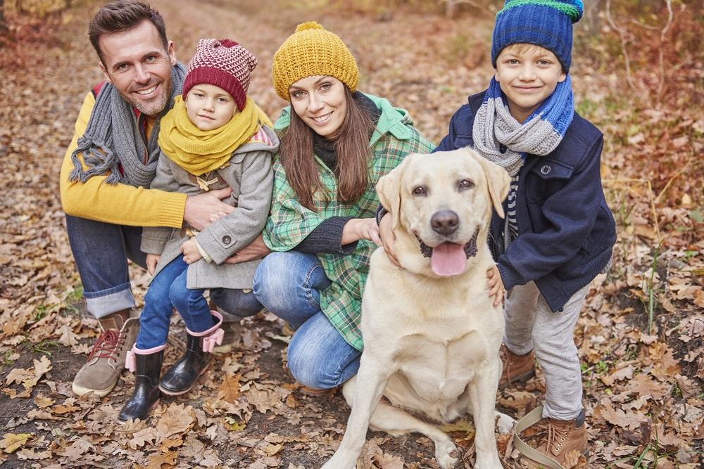 rodzina z psem w lesie