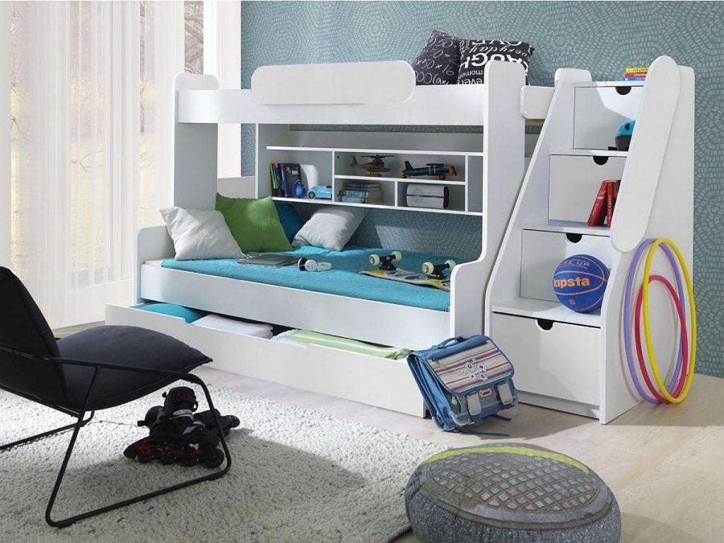 Wielofunkcyjne łóżko RESSE z antresolą i schodami