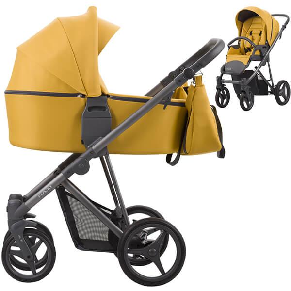 żółty wózek dziecięcy